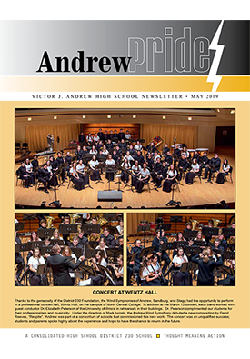Cover of Andrew Pride May 2019 newsletter featuring band concert at Wentz Hall