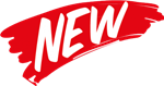 "Red Banner with the word ""NEW"" written across it in white font"