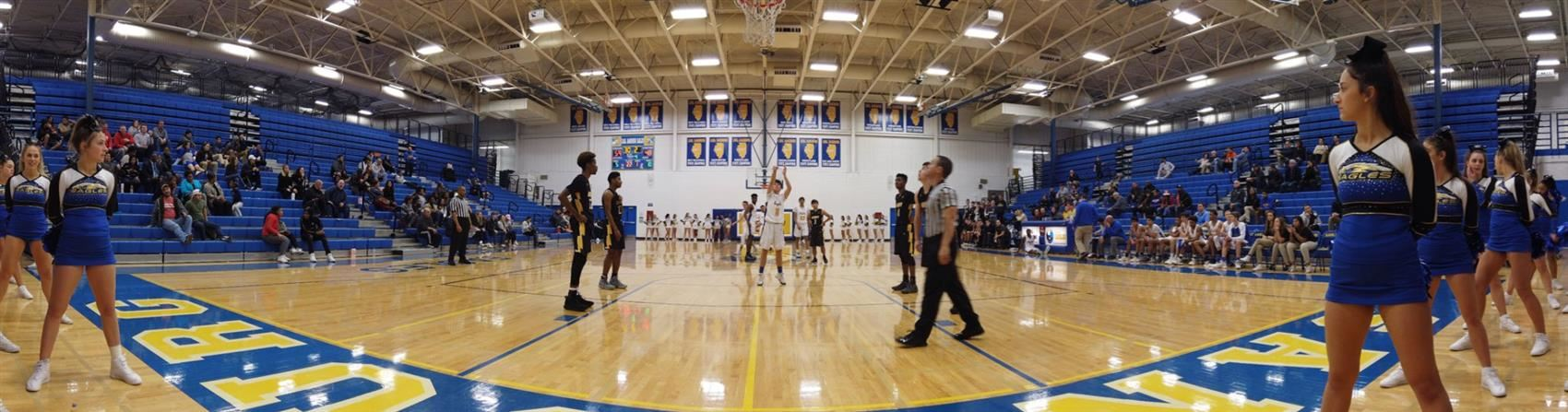 A Sandburg Varsity Basketball player shoots a free-throw in their game against Victor J. Andrew High School