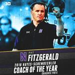 Pat Fitzgerald, head coach of Northwestern University football, is named 2018 Big Ten Coach of the Year