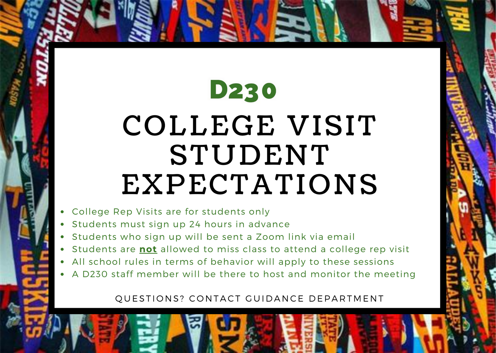 Click on College Visit in calendar below to attend the virtual zoom meeting