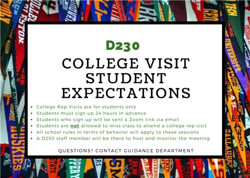 College Rep Visit- Student Expectations