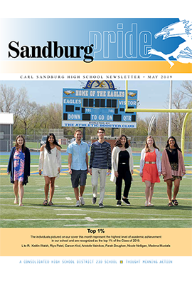 Cover of Sandburg Pride newsletter featuring the Top 1% of seniors