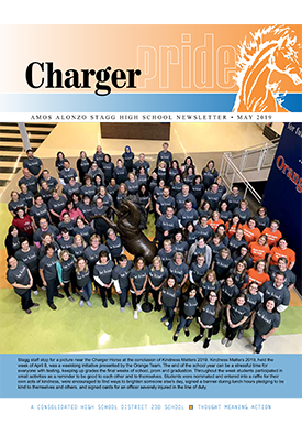 Charger Pride May 2019 newsletter cover featuring Be Kind initiative